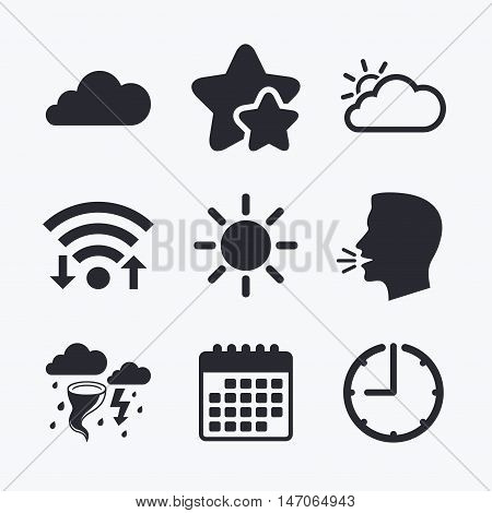 Weather icons. Cloud and sun signs. Storm or thunderstorm with lightning symbol. Gale hurricane. Wifi internet, favorite stars, calendar and clock. Talking head. Vector