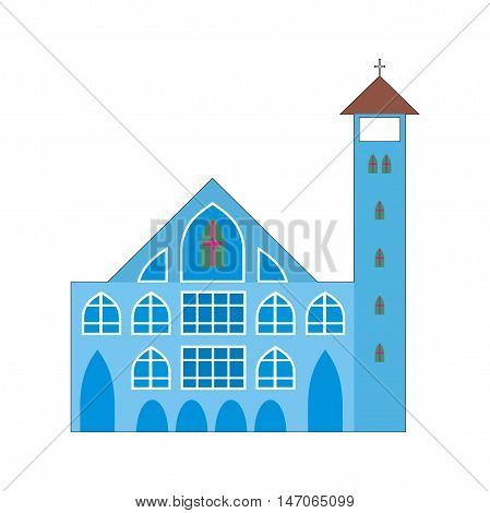 Illustration blue facade Methodist Church isolated on a white background