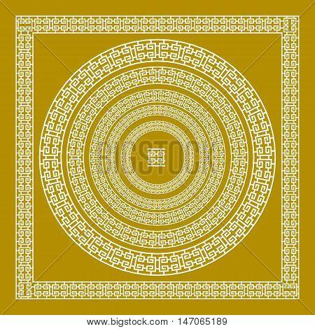 Golden, Ornamental, Meander Circle Frame In Gold Greek Vector Border