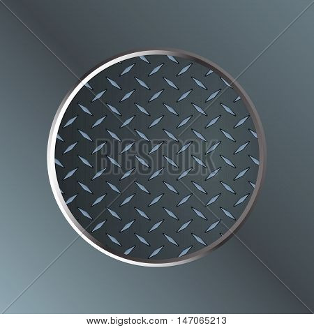 Metallic Diamond 3D Border Over Metal Plate Background