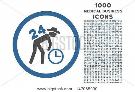 Around the Clock Work rounded vector bicolor icon with 1000 medical business icons. Set style is flat pictograms, cobalt and gray colors, white background.