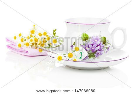 camomile tea isolated on a white background