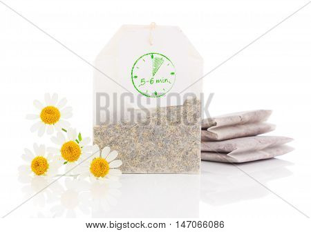 chamomile teabag isolated on a white background