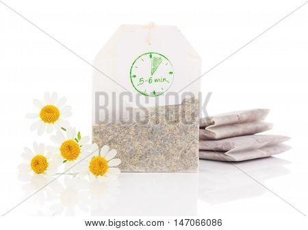 chamomile teabag isolated on a white background