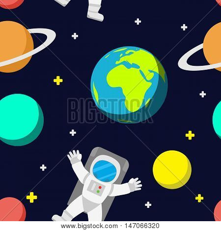 Universe vector template seamless pattern background. Outer space with astronaut planets and rocket.