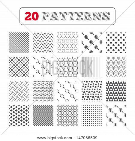 Ornament patterns, diagonal stripes and stars. Magnifier glass icons. Plus and minus zoom tool symbols. Search information signs. Geometric textures. Vector