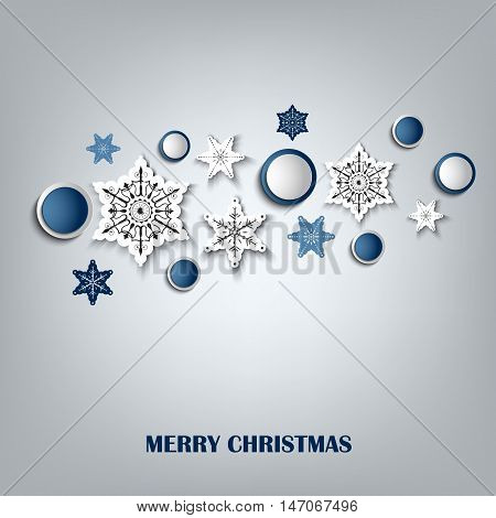 Christmas card with abstract snowflakes in the background vector eps 10