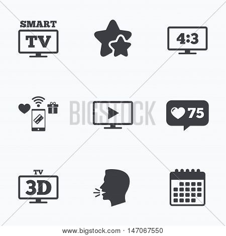 Smart TV mode icon. Aspect ratio 4:3 widescreen symbol. 3D Television sign. Flat talking head, calendar icons. Stars, like counter icons. Vector
