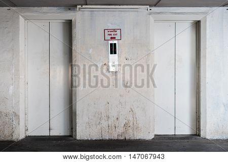 The White Elevator or lift steel doors.