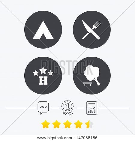 Food, hotel, camping tent and tree icons. Knife and fork. Break down tree. Road signs. Chat, award medal and report linear icons. Star vote ranking. Vector