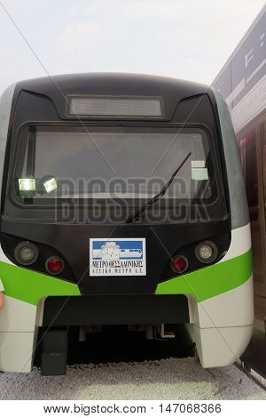 Thessaloniki, Greece - September 12 2016: Thessaloniki metro demo wagon exhibit. Part of an exhibition inside 81st Thessaloniki International Fair. Thessaloniki metro will be operational by 2020.