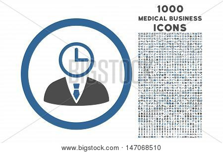Time Manager rounded vector bicolor icon with 1000 medical business icons. Set style is flat pictograms, cobalt and gray colors, white background.