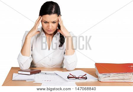 Portrait of a Worried Businesswoman with Financial Figures