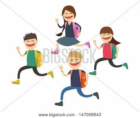 Joyful children go to school . Start of the school year . Vector illustration