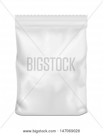 White blank plastic or paper washing powder packaging. Sachet for bread, coffee, sweet,s cookies and gift.