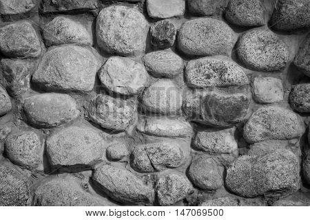 Stones In The Wall At Background Black And White