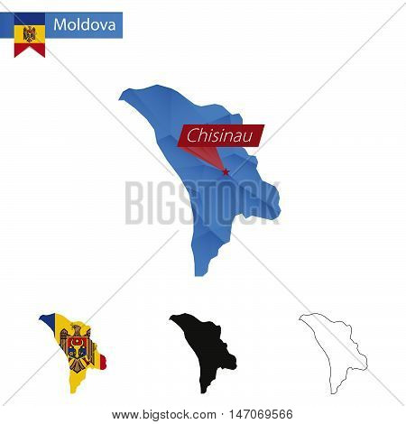 Moldova Blue Low Poly Map With Capital Chisinau.