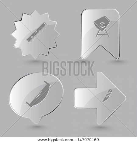 4 images: spirit level, concrete mixer, two-handled saw, knife. Industrial tools set. Glass buttons on gray background. Vector icons.
