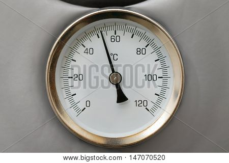 Thermometer on a water heating boiler