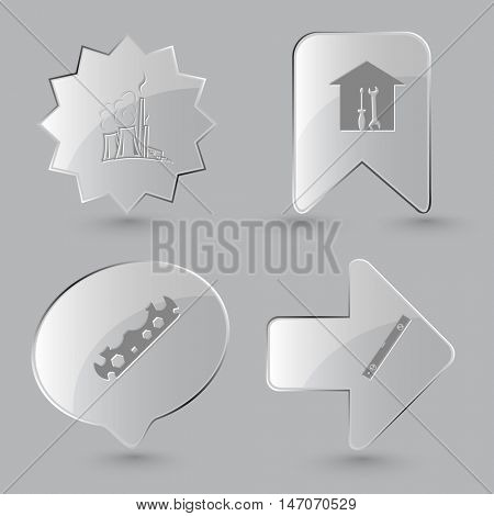4 images: thermal power engineering, workshop, cycle spanner, spirit level. Industrial tools set. Glass buttons on gray background. Vector icons.
