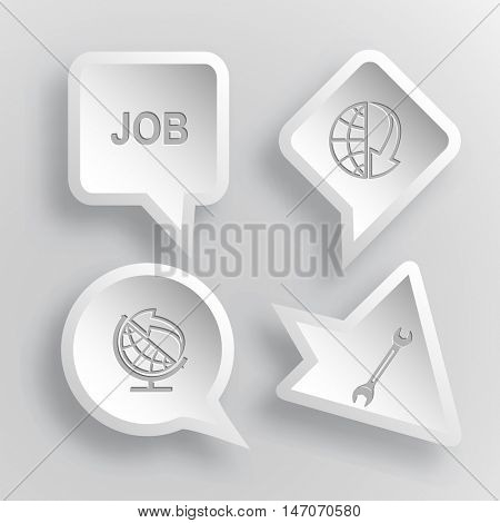 4 images: job, globe and array down,  and arrow, spanner. Business set. Paper stickers. Vector illustration icons.