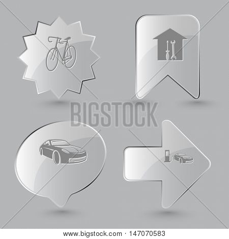4 images: bicycle, workshop,  car fueling. Transport set. Glass buttons on gray background. Vector icons.