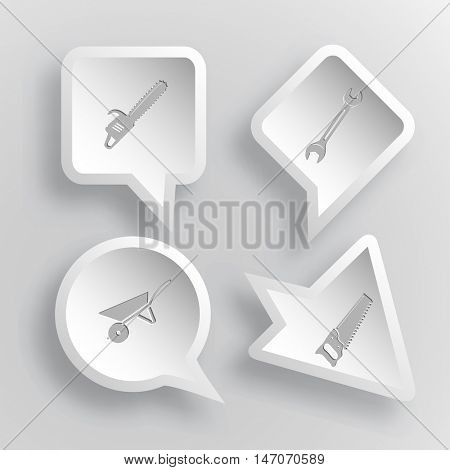 4 images: gasoline-powered saw, spanner, wheelbarrow. Angularly set. Paper stickers. Vector illustration icons.