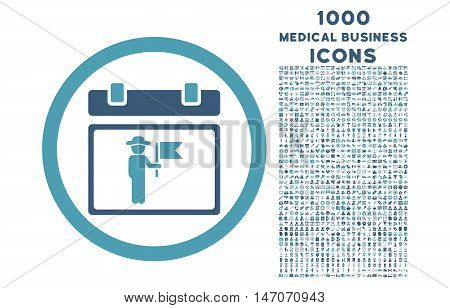 National Holiday Day rounded vector bicolor icon with 1000 medical business icons. Set style is flat pictograms, cyan and blue colors, white background.