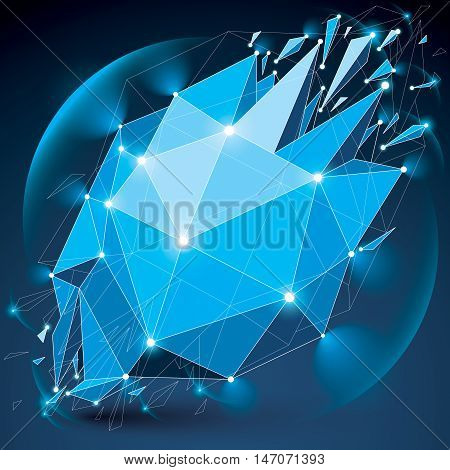 Abstract 3d faceted radiance blue figure with connected black lines and dots. Vector low poly shattered design element with fragments and particles. Explosion effect lens circles.
