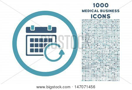 Update Calendar rounded vector bicolor icon with 1000 medical business icons. Set style is flat pictograms, cyan and blue colors, white background.