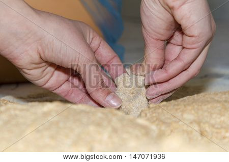 Kneading a dough from Einkorn wheat in a small bakery