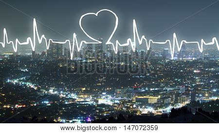 Abstract cardiogram on modern night city background