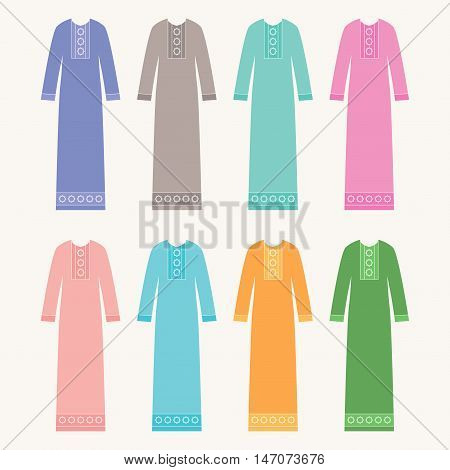 Hijab set. Abaya collection. Arabic cloth. Muslim long dress vector illustration.