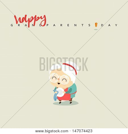 Cartoon character elderly woman, a girl aged. Grandmother smiling washes a plate.