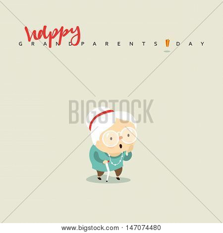 Cartoon character elderly woman, a girl aged. Grandmother smiling with a stick in his hand.