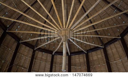 close up frame structure on top of bamboo roof