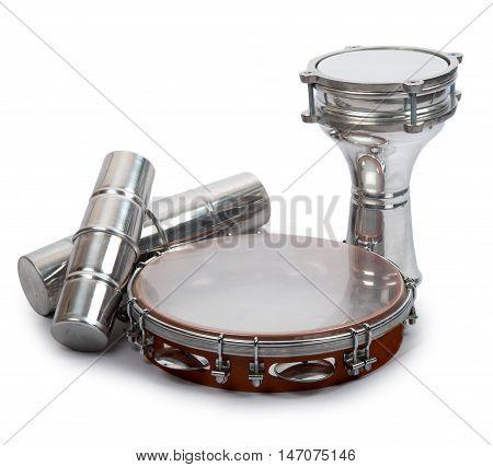 Aluminium Darbuka with Tambourine and Two Shakers