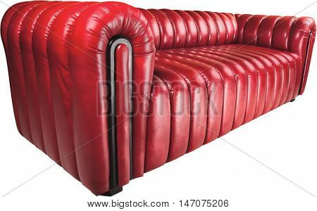 Leather and Modern Red Couch - Isolated