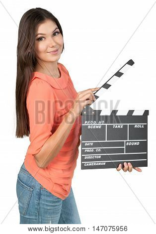 Attractive Woman Standing with Clapperboard - Isolated