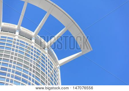 Abstract view of modern facade on sky background