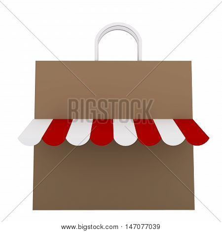 3D Brown shopping bag with red and white canopy isolated on white background