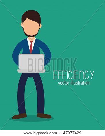 avatar efficiency work technology design isolated vector illustration esp 10