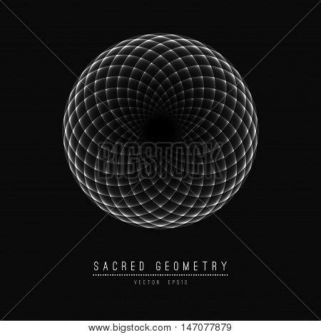 Flower of Life. Sacred Geometry. Symbol of Harmony and Balance. Vector Illustration.