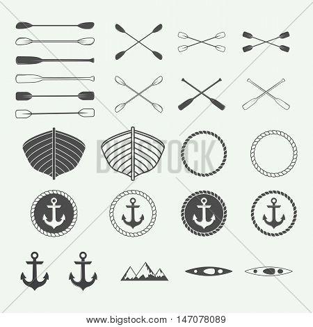 Set of vintage rafting logo labels and badges. Vector illustration