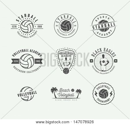 Set of vintage volleyball labels emblems and logo. Vector illustration. Graphic Art.