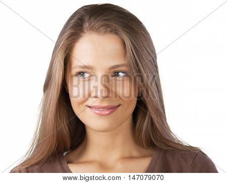 Closeup of a Beautiful Young Woman Looking Sideways