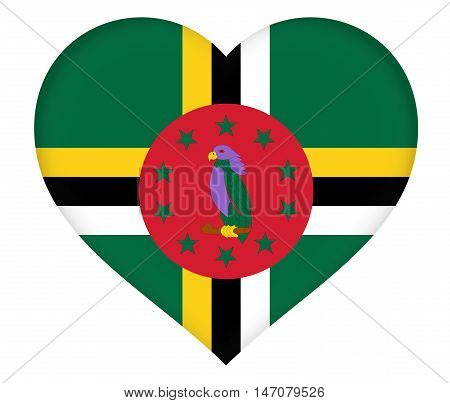 Illustration of the flag of Dominica shaped like a heart