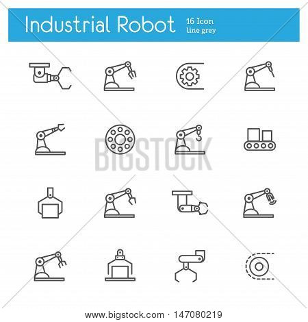 Industrial robot vector line icons set of 16