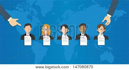 Ad hoc selected special team of people group employee selection recruitment world online vector