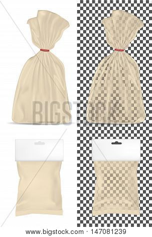Transparent blank foil or paper packaging isolated on white background. Sachet with hanging hole for bread coffee sweets cookies and gift.